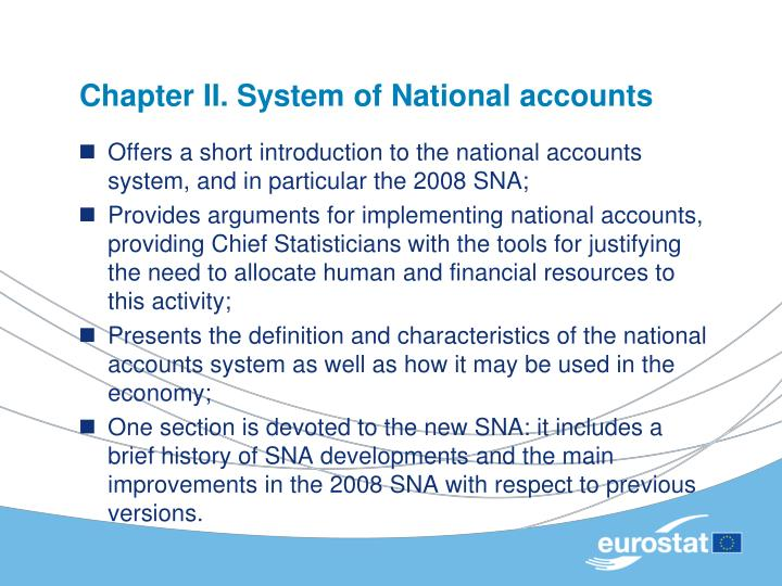 Chapter II. System of National accounts