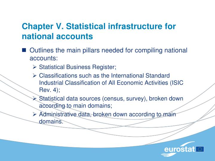 Chapter V. Statistical infrastructure for national accounts