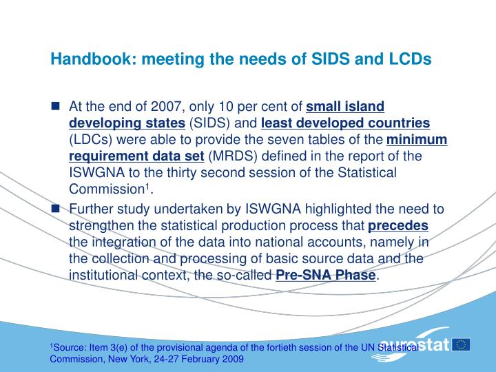 Handbook: meeting the needs of SIDS and LCDs