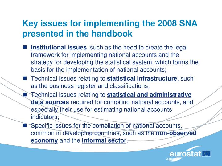 Key issues for implementing the 2008 SNA presented in the handbook