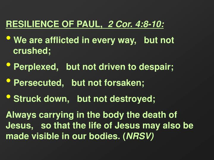RESILIENCE OF PAUL,