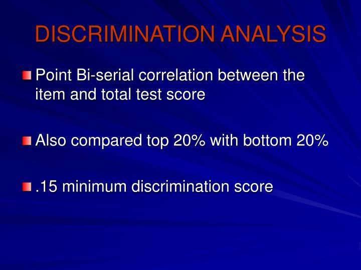 DISCRIMINATION ANALYSIS