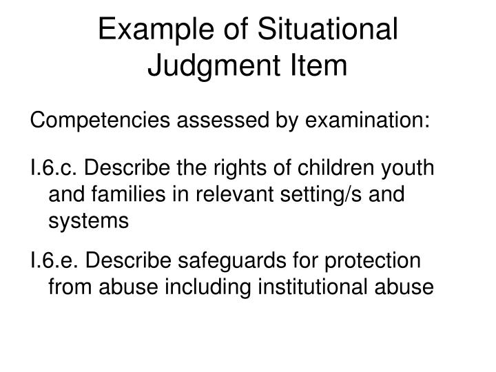 Example of Situational Judgment Item