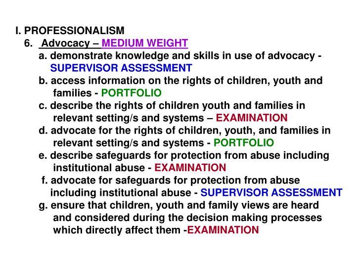 I. PROFESSIONALISM