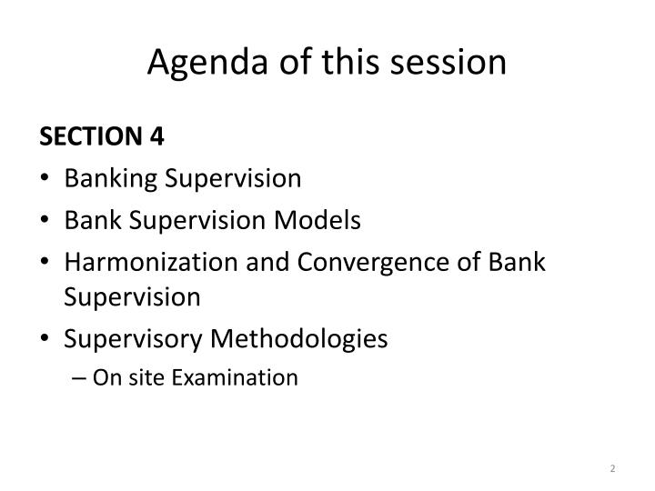 Agenda of this session