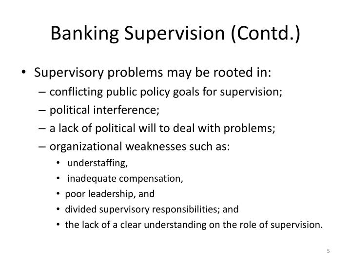 Banking Supervision (Contd.)
