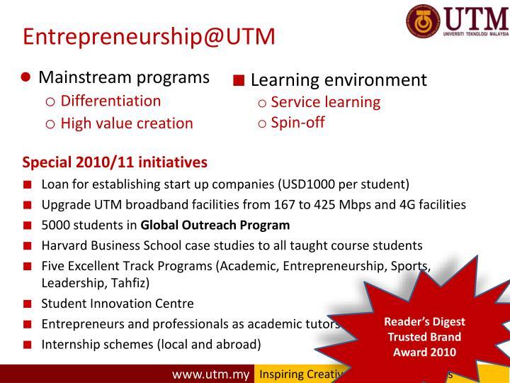 Entrepreneurship@UTM