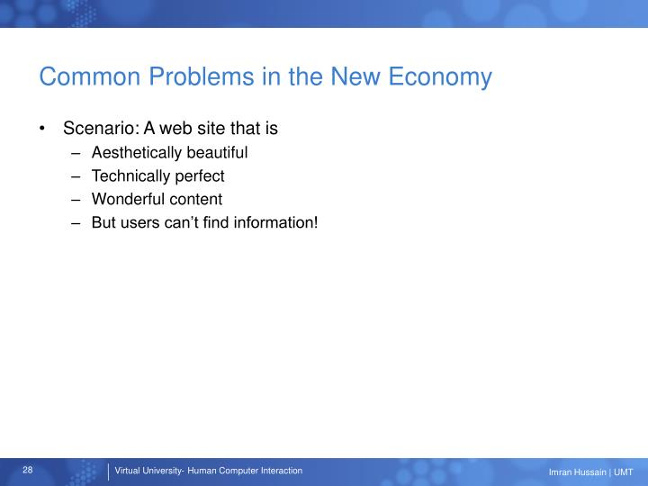 Common Problems in the New Economy