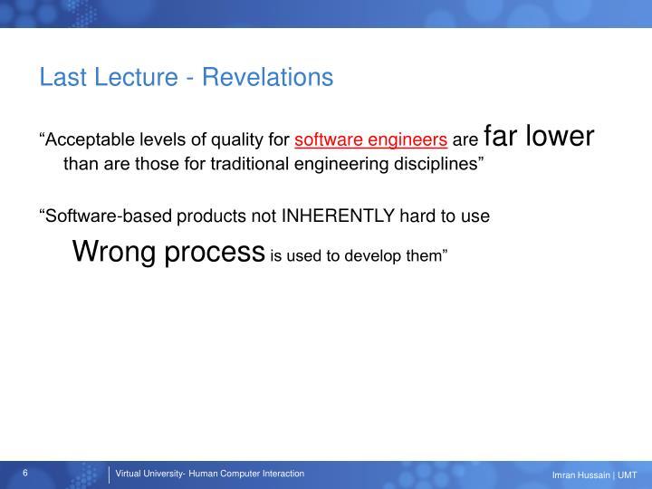 Last Lecture - Revelations