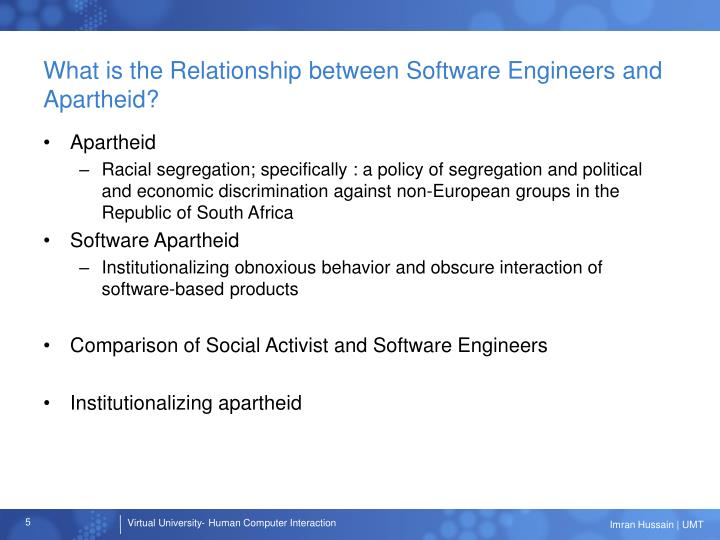 What is the Relationship between Software Engineers and Apartheid?