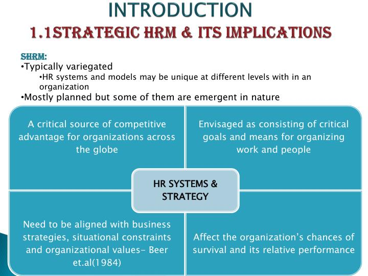 Introduction 1 1 strategic hrm its implications