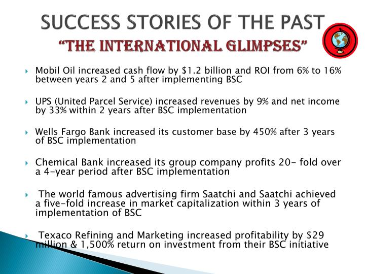 SUCCESS STORIES OF THE PAST