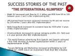 success stories of the past the international glimpses