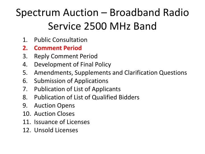 Spectrum Auction – Broadband Radio Service 2500 MHz Band