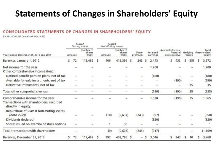 Statements of Changes in Shareholders' Equity