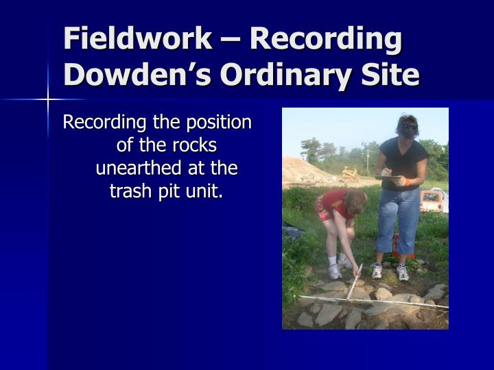 Fieldwork – Recording Dowden's Ordinary Site