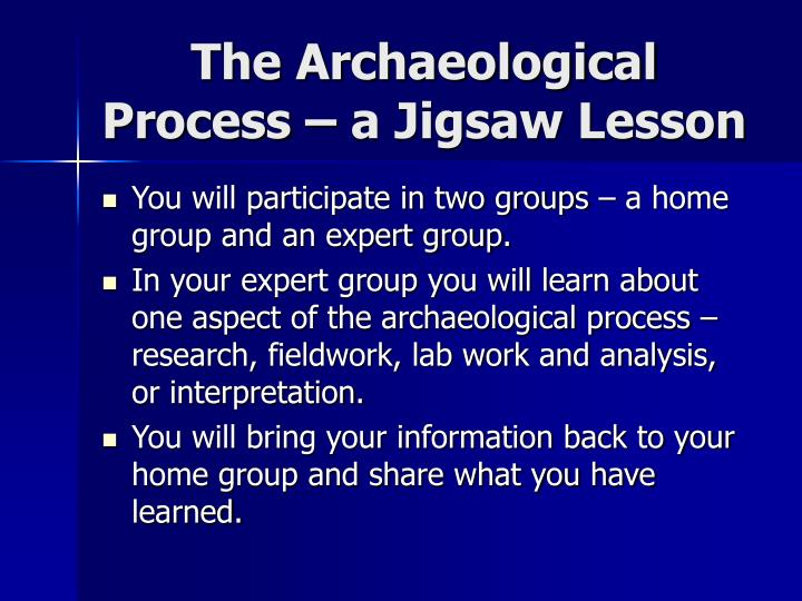 The Archaeological Process – a Jigsaw Lesson