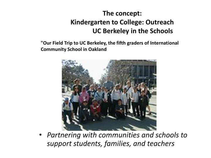The concept kindergarten to college outreach uc berkeley in the schools
