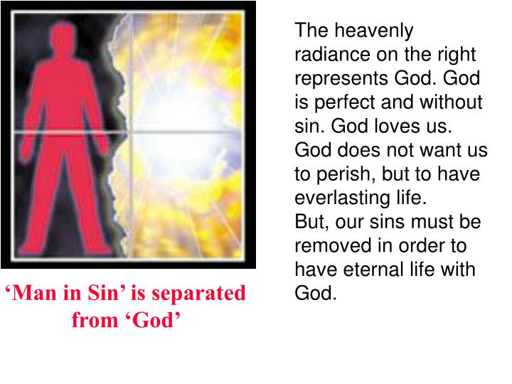 The heavenly radiance on the right represents God. God is perfect and without sin. God loves us. God...