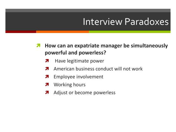 Interview Paradoxes