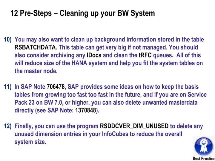 12 Pre-Steps – Cleaning up your BW System