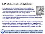 2 bw to hana migration with optimization