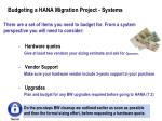 budgeting a hana migration project systems