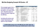 mid size budgeting example hw quotes hp