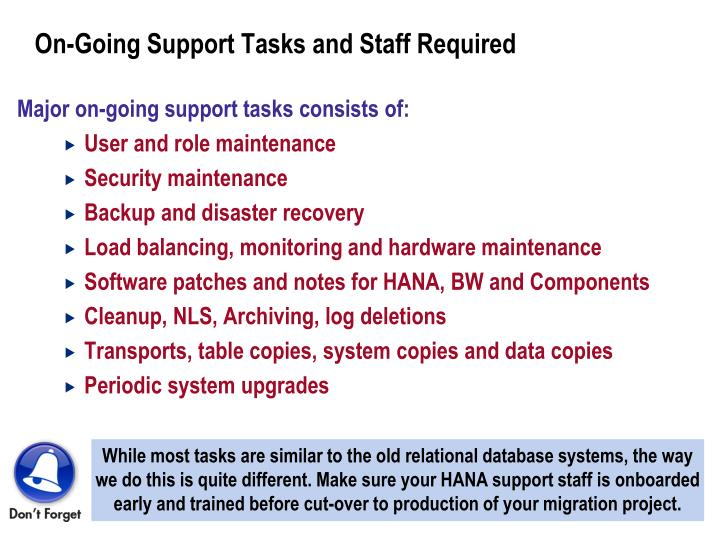 On-Going Support Tasks and Staff Required