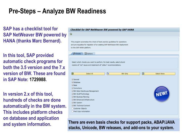 Pre-Steps – Analyze BW Readiness