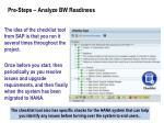pre steps analyze bw readiness1
