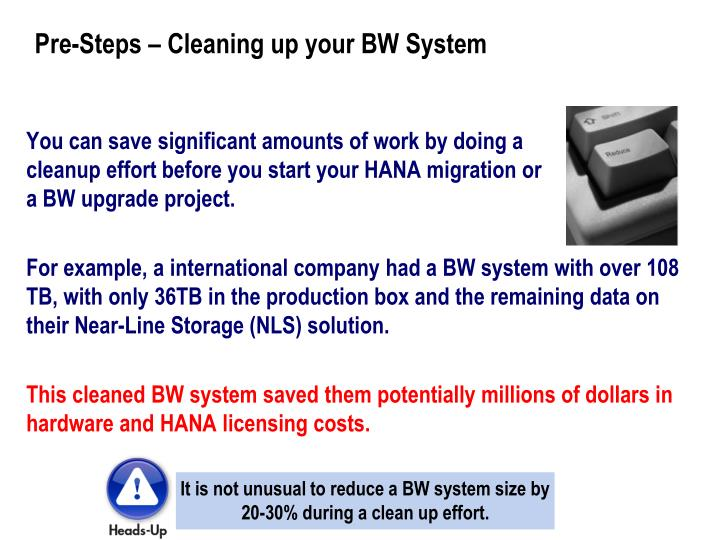 Pre-Steps – Cleaning up your BW System