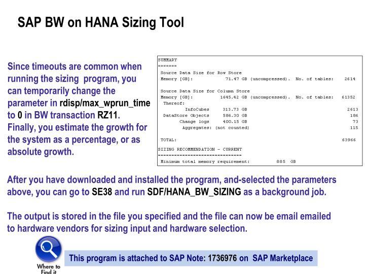 SAP BW on HANA Sizing Tool