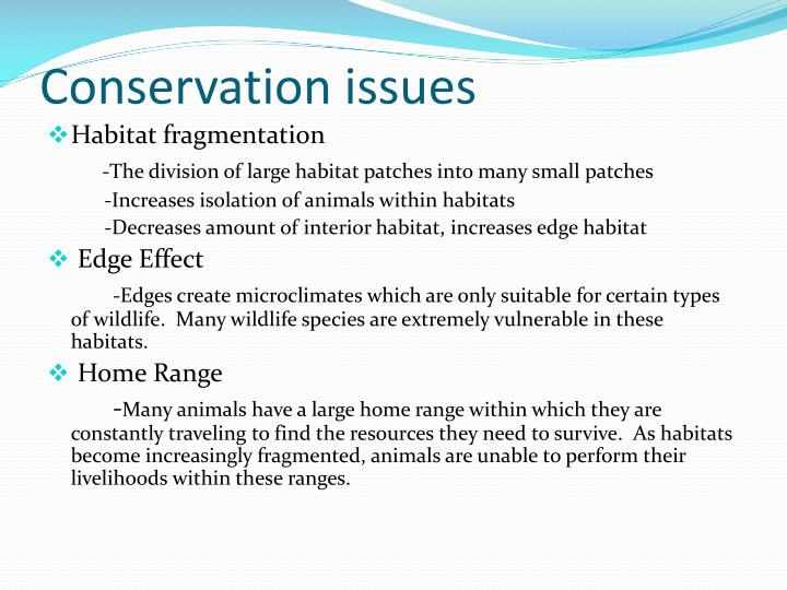 Conservation issues