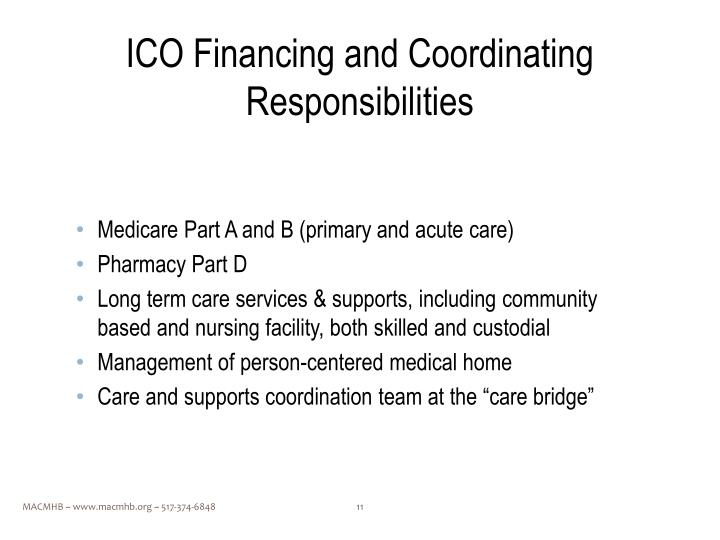 ICO Financing and Coordinating Responsibilities