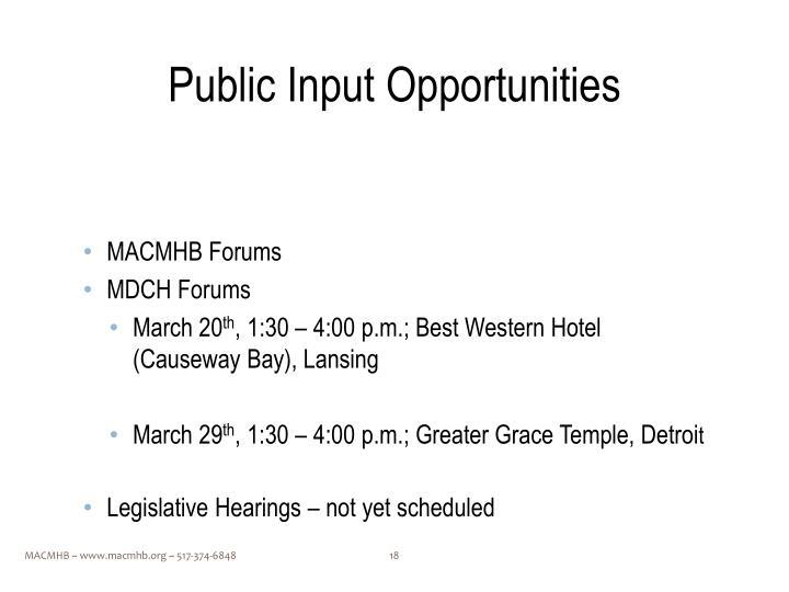 Public Input Opportunities