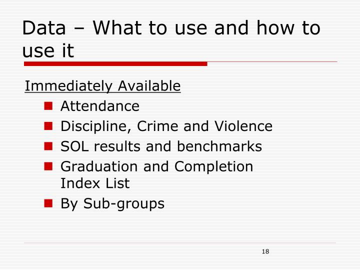 Data – What to use and how to use it