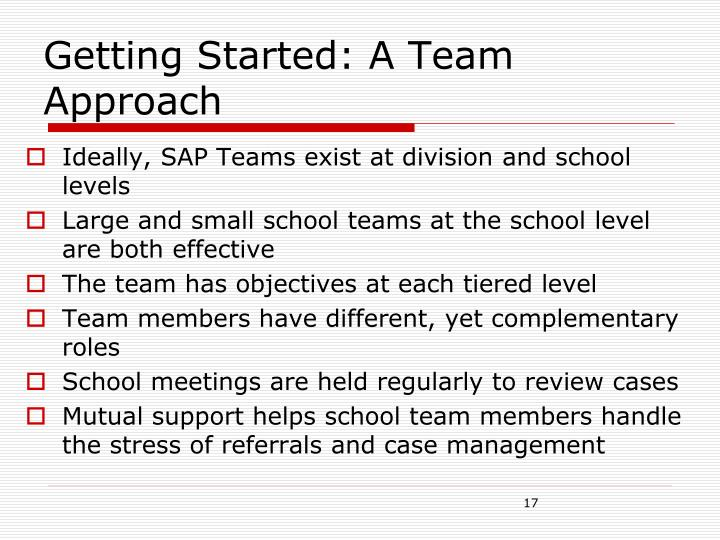 Getting Started: A Team Approach