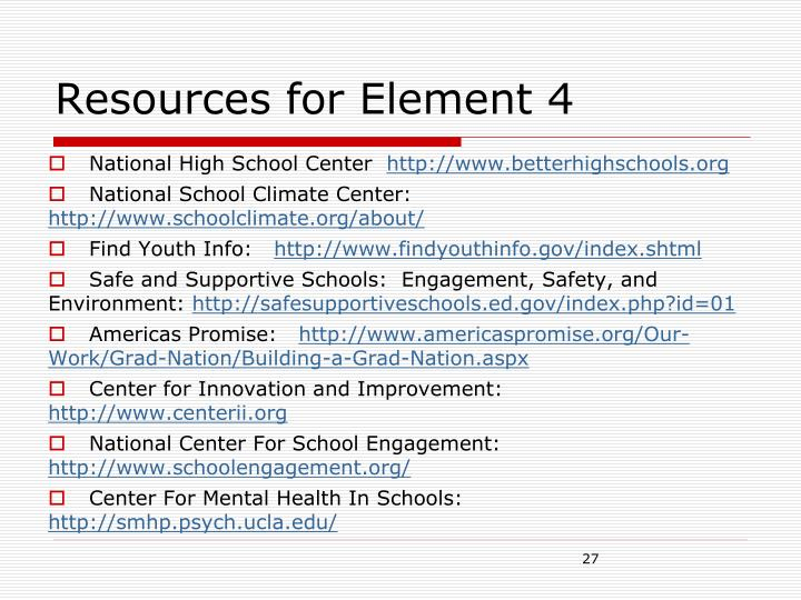 Resources for Element 4