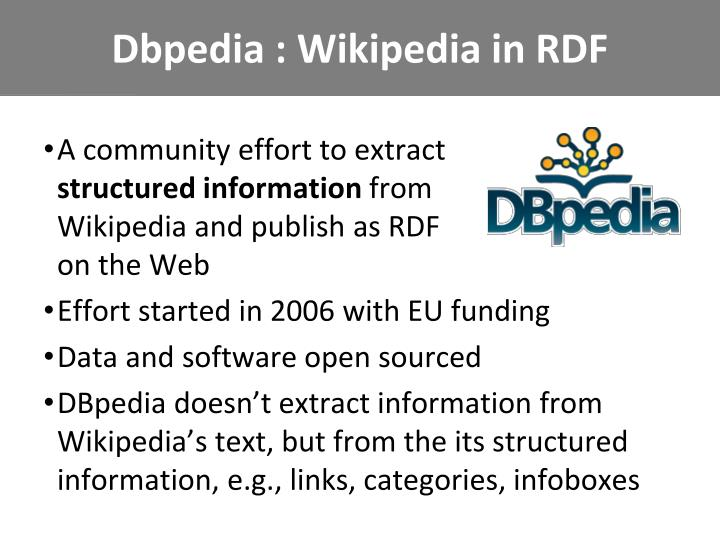 Dbpedia : Wikipedia in RDF