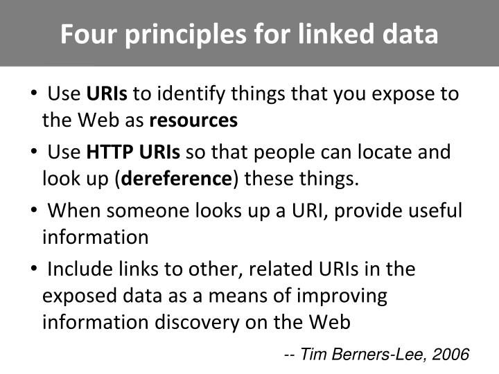 Four principles for linked data