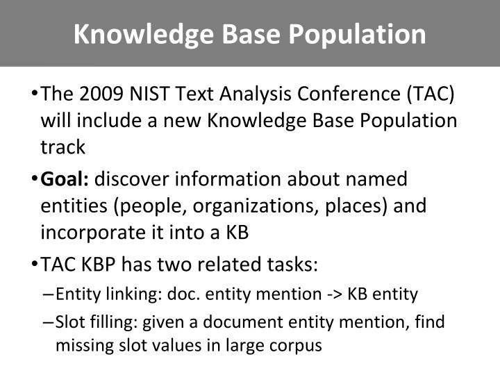 Knowledge Base Population