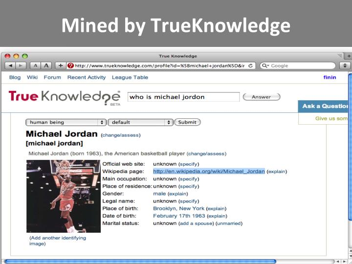 Mined by TrueKnowledge