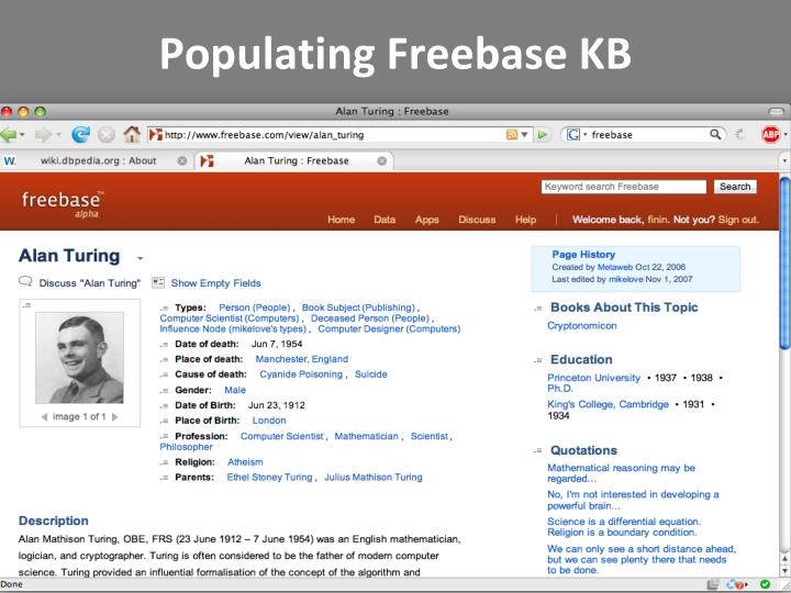 Populating Freebase KB