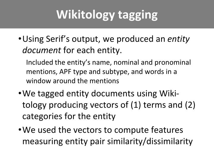 Wikitology tagging