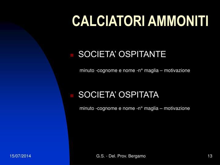 CALCIATORI AMMONITI