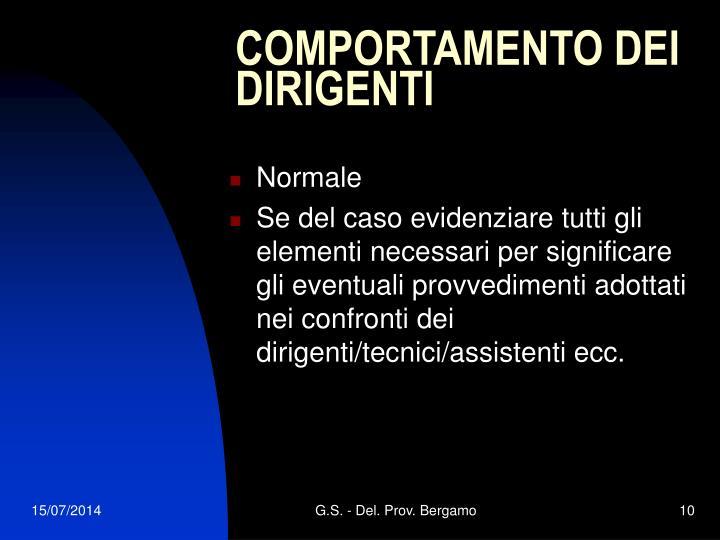 COMPORTAMENTO DEI DIRIGENTI