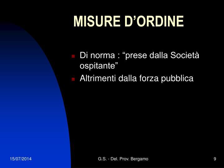 MISURE D'ORDINE