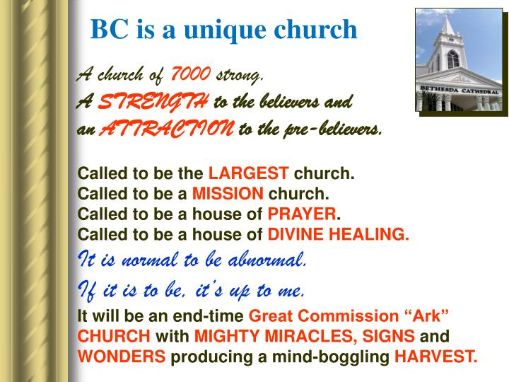 BC is a unique church