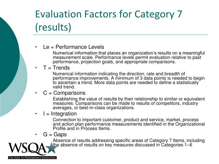 Evaluation Factors for Category 7 (results)
